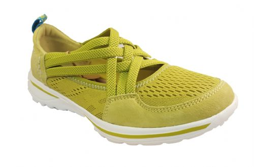 Ultra lightweight lime green suede leather casual leisure shoe.